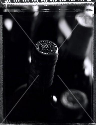 A few bottles of Chateau Mouton Rothschild (b/w photo)