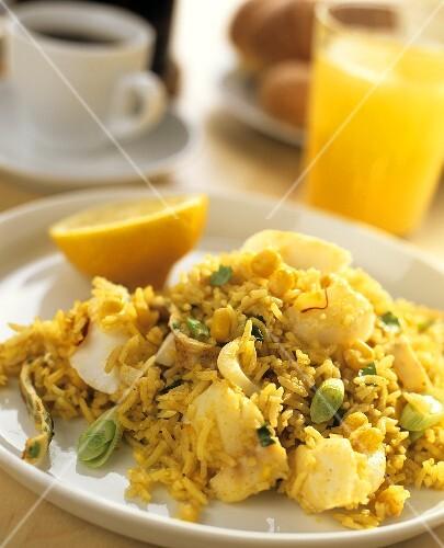 Kedgeree (British fish dish with rice and eggs)