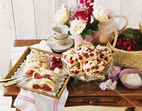 Cherry & marzipan striezel (plait) & coconut cherry cake