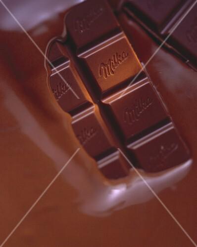 Half-melted Milka chocolate