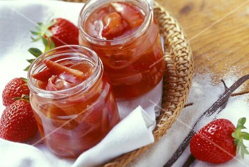 Strawberry and rhubarb preserve in jam jars