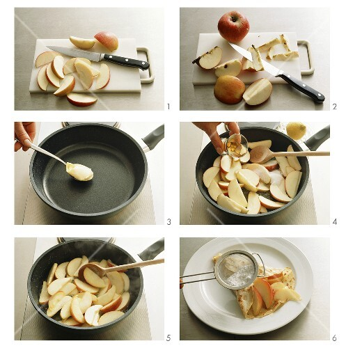 Making crepe with Calvados apples