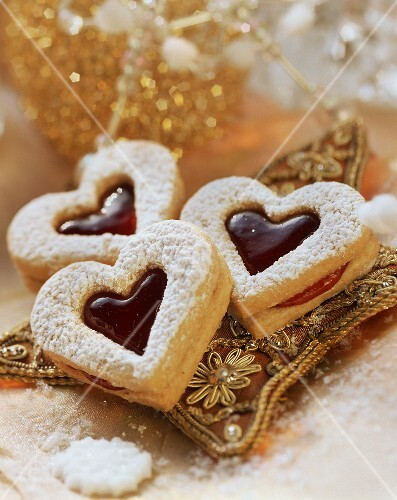 Sweet pastry hearts with jam filling