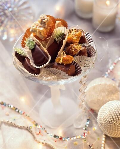 White chocolate clusters, marzipan sweets & walnut chocolates