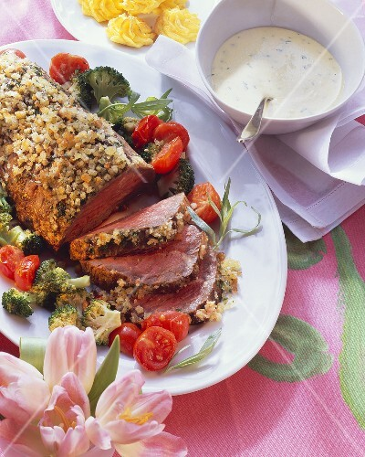 Roast beef fillet with herb hollandaise