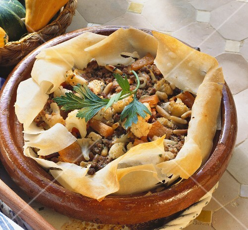 Middle Eastern mince dish in filo pastry