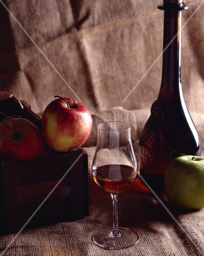 Still life with Calvados and apples