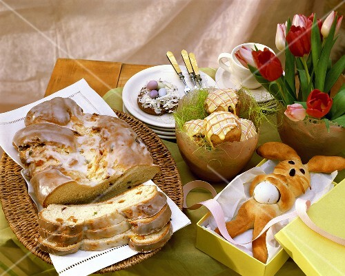 Assorted baked goods for Easter in yeast dough