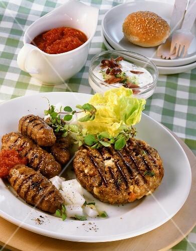 Barbecued mince rolls (cevapcici) & Vienna steak with feta