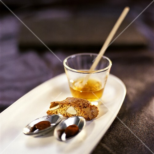 Chocolate espresso beans and cantuccini with Vin santo