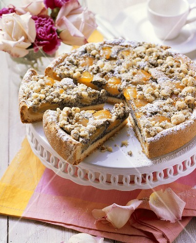 Apricot and poppy seed cake, a piece cut