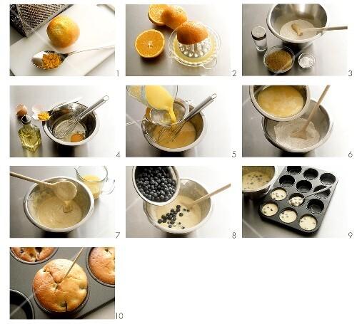 Making blueberry muffins