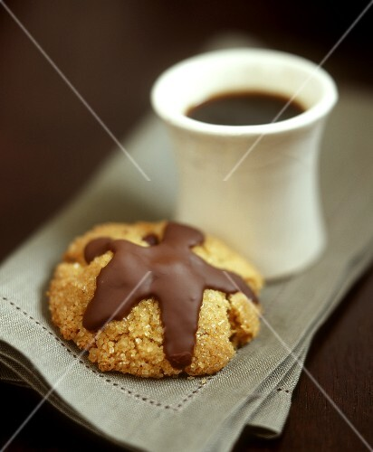 Coffee sand biscuits with chocolate icing
