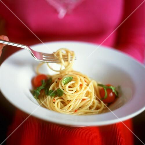 Spaghetti aglio, olio e peperoncino (Scharfes Nudelgericht)