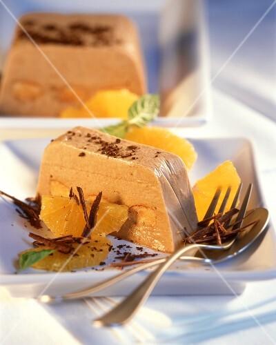 Mocha parfait with orange segments