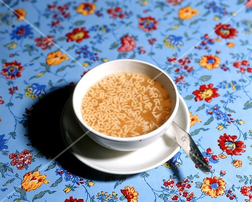 Bowl of alphabet soup, child's spoon