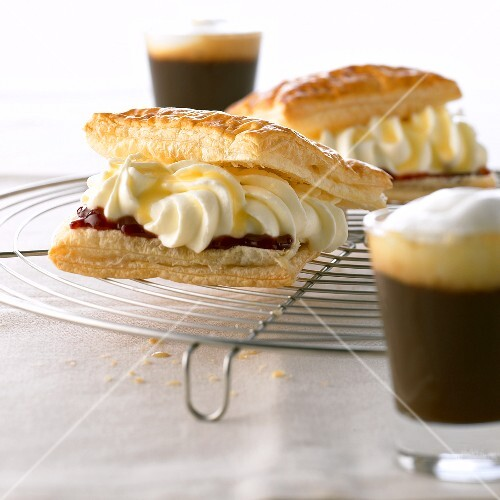 Puff pastry slice with plum puree and quark