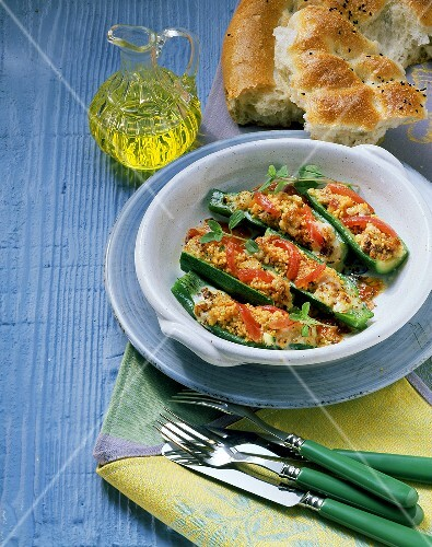 Courgettes stuffed with couscous and tomatoes
