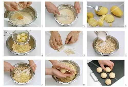 Kartoffel-Semmel-Knödeln mit Maisgriess zubereiten