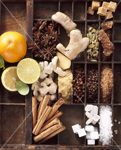 Spices for punch and mulled wine in typesetter's case