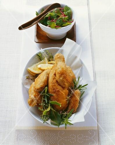 Wiener Backhendl (Viennese fried chicken) with herbs