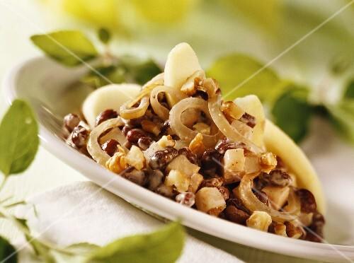 Adzuki beans with celeriac and walnuts