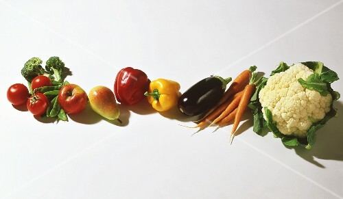 Various types of vegetables, apple and pear