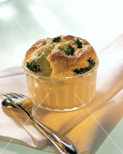 Cauliflower and broccoli souffle in glass dish