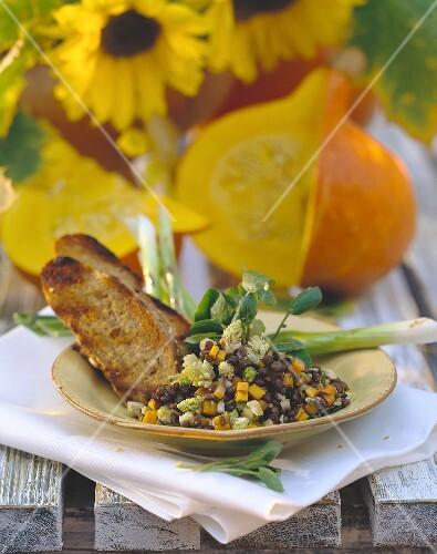 Lentil salad with pumpkin and romanesco