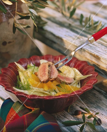 Pork fillet & fennel salad with orange segments