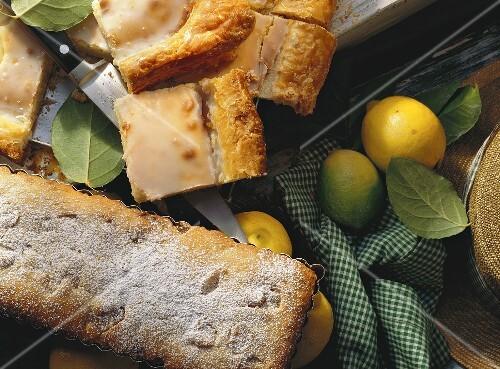 Banana and ginger cake and lemon cake