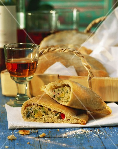 Calzone with veal forcemeat and pepper filling