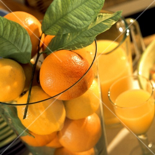 Lemons and oranges with leaves in glass; orange juice