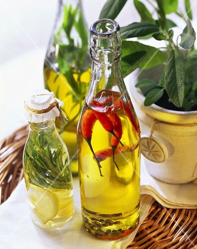 Chili oil, lemon & rosemary oil and herb oil