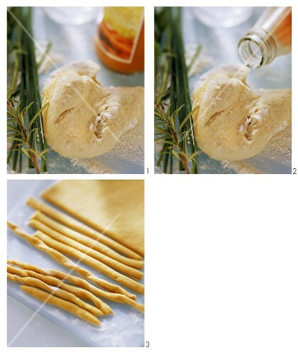 Making party grissini (bread sticks)