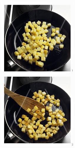 Preparing fried diced potatoes