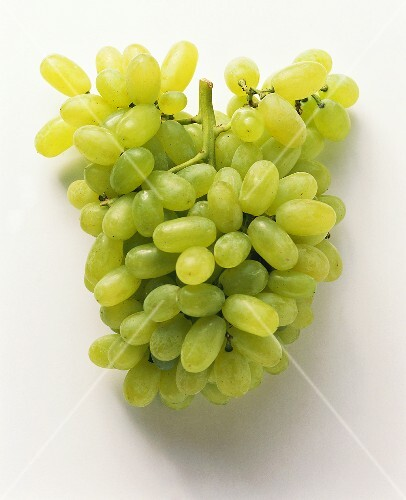 Green table grapes on a white background