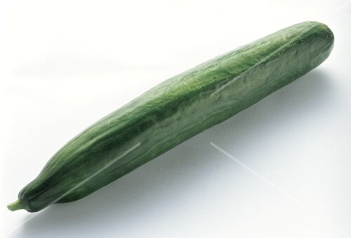 A cucumber on a white background