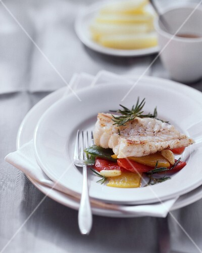 Monkfish fillet on peppers with rosemary