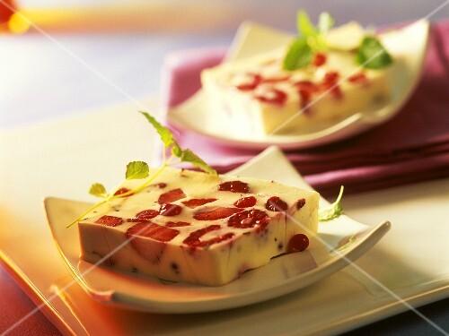 Berry terrine with mint yoghurt