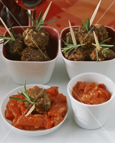 Meatballs with pine nuts, rosemary and chili peppers