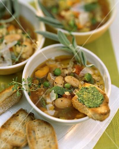 Minestrone con la salvia (Gemüsesuppe mit Salbei)