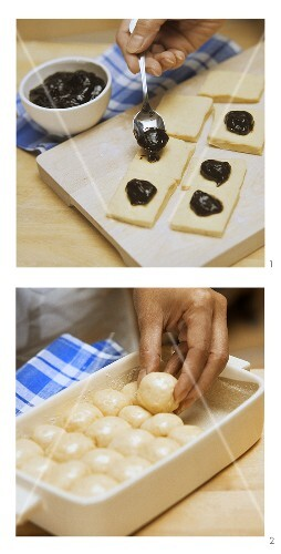Making sponge rolls: filling and putting into baking tin