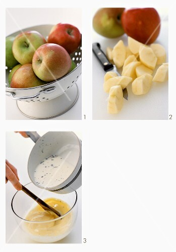 Making apple charlotte with custard