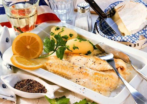 Sole with Camembert sauce and parsley potatoes