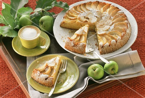 Apple cake, slices cut, one piece on plate