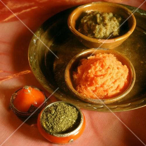 Aubergine dip, carrot dip and za'atar (spice, N. Africa)