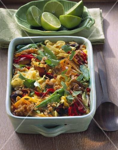 Asian noodle gratin