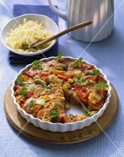 Vegetable gratin with bacon