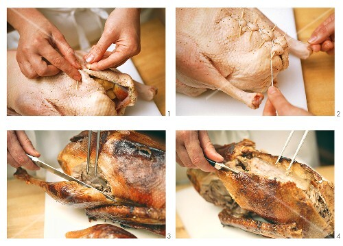 Stuffing and carving a goose